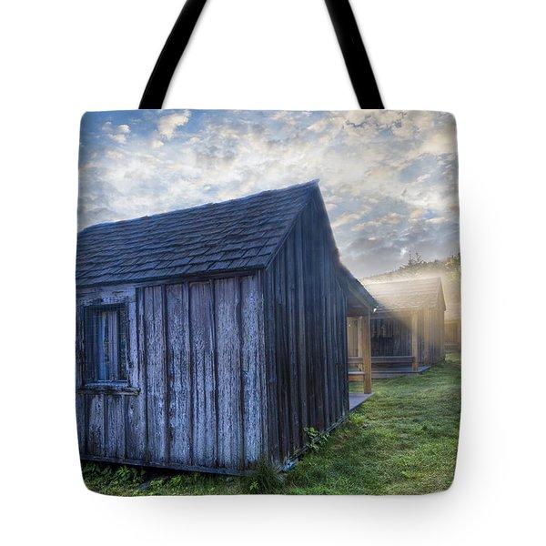 Mt Leconte Cabins Tote Bag by Debra and Dave Vanderlaan