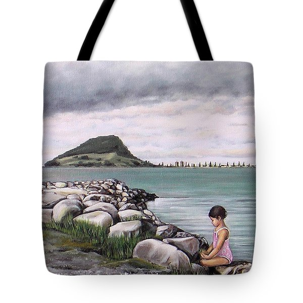 Tote Bag featuring the painting Mt Maunganui 140408 by Sylvia Kula