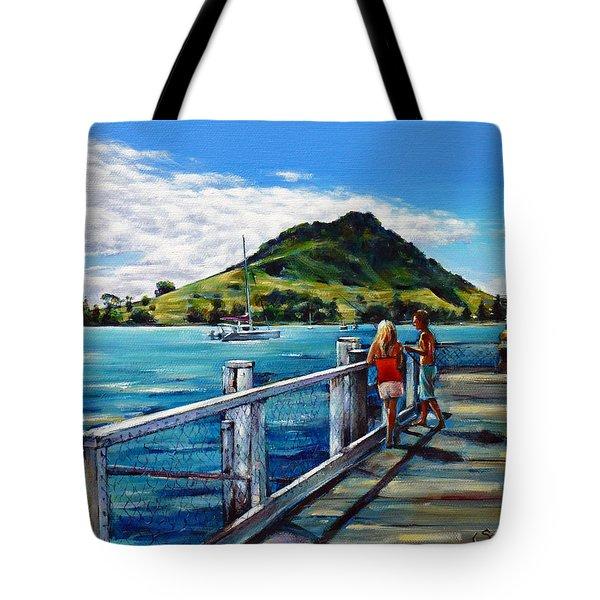 Mt Maunganui Pier 140114 Tote Bag