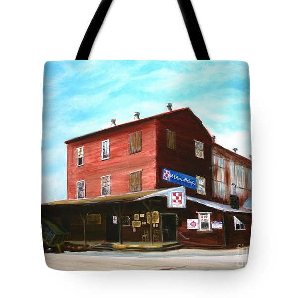 Tote Bag featuring the painting Mt. Pleasant Milling Company by Stacy C Bottoms