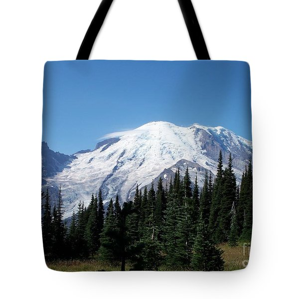 Mt. Rainier In August Tote Bag by Chalet Roome-Rigdon