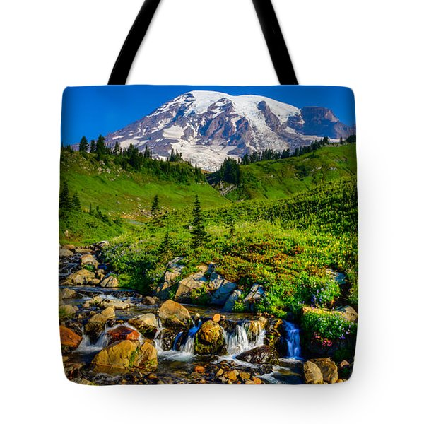 Mt. Rainier Stream Tote Bag