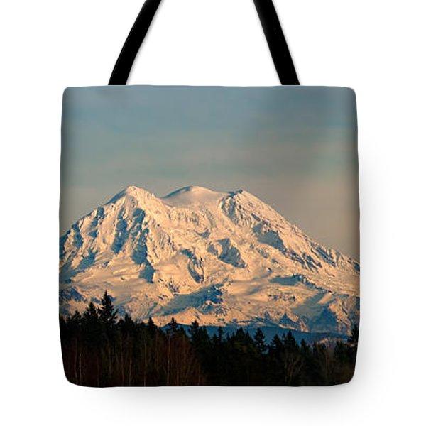 Mt Rainier Winter Panorama Tote Bag