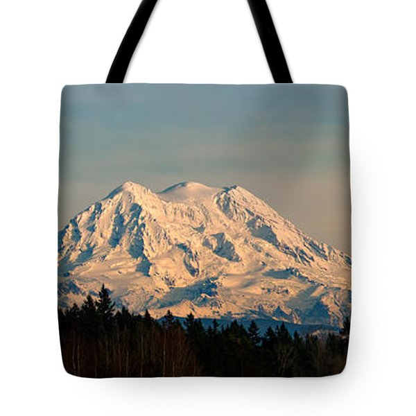 Mt Rainier Winter Panorama Tote Bag