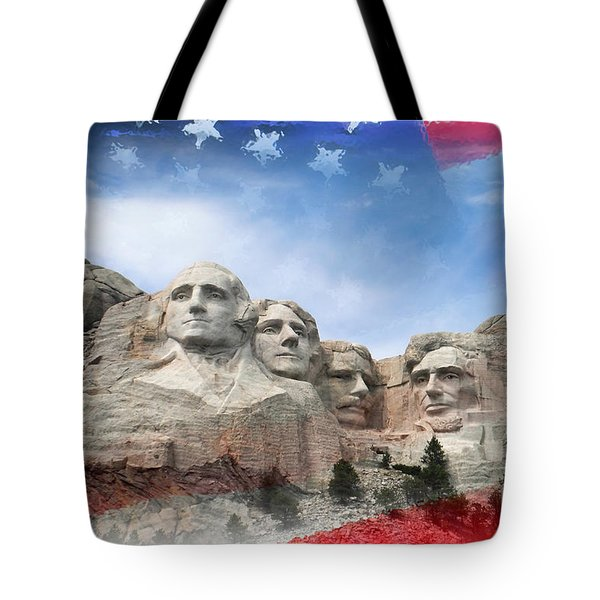 Mt Rushmore Flag Frame Tote Bag