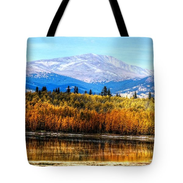 Tote Bag featuring the photograph Mt. Silverheels With Aspens by Lanita Williams