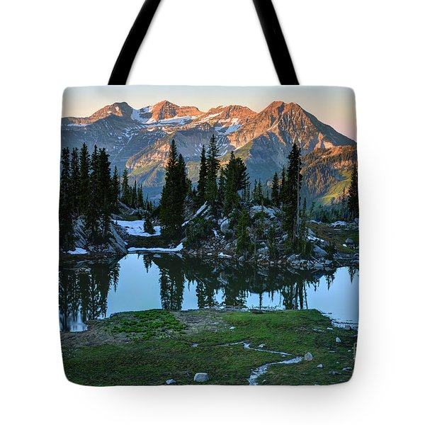 Mt. Timpanogos At Sunrise From Silver Glance Lake Tote Bag