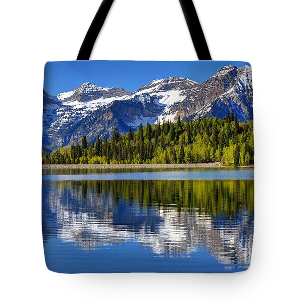 Mt. Timpanogos Reflected In Silver Flat Reservoir - Utah Tote Bag by Gary Whitton
