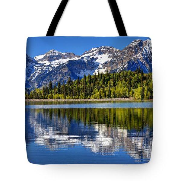 Mt. Timpanogos Reflected In Silver Flat Reservoir - Utah Tote Bag