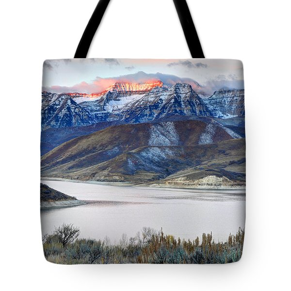 Mt. Timpanogos Winter Sunrise Tote Bag
