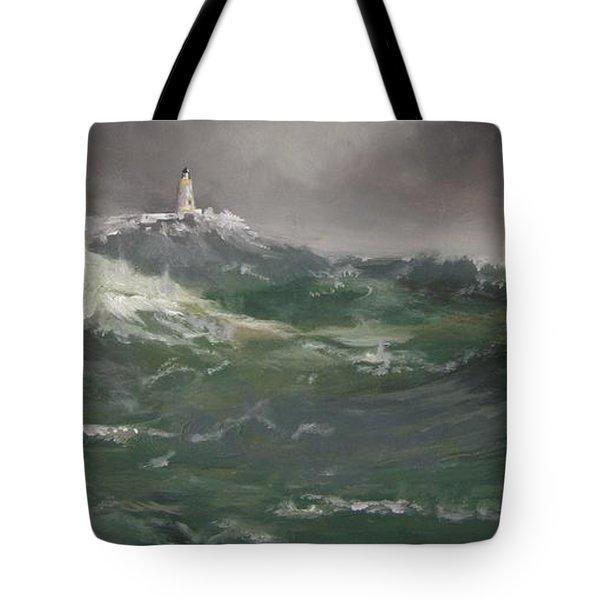 Muckle Flugga Lighthouse Shetland Tote Bag