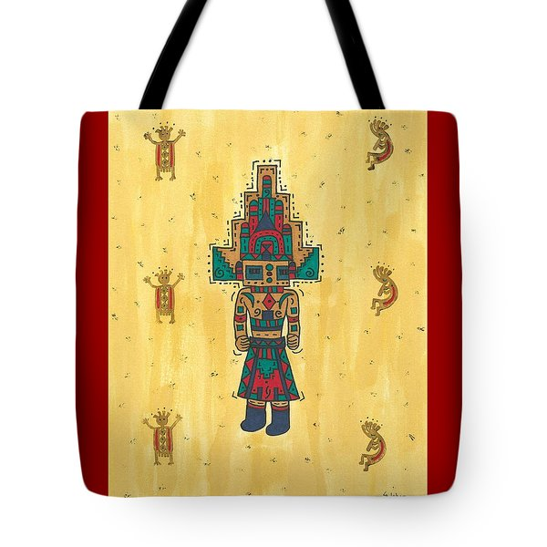 Tote Bag featuring the painting Mudhead Kachina Doll by Susie Weber