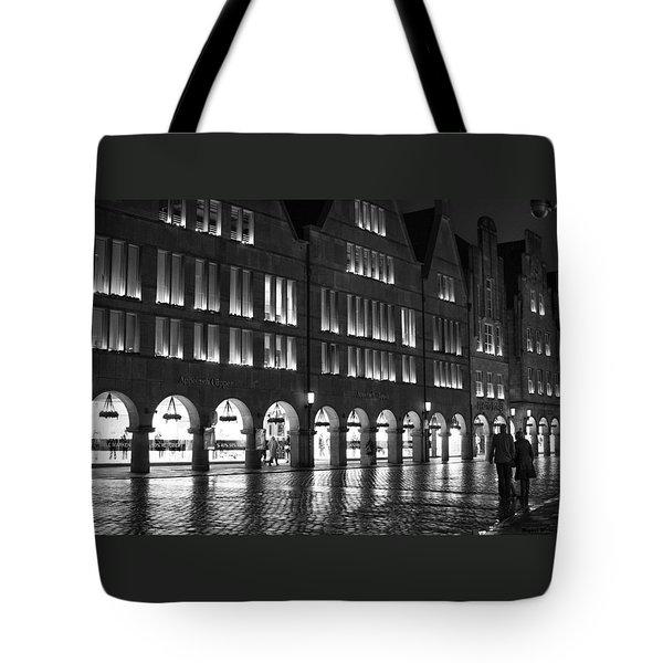 Cobblestone Night Walk In The Town Tote Bag