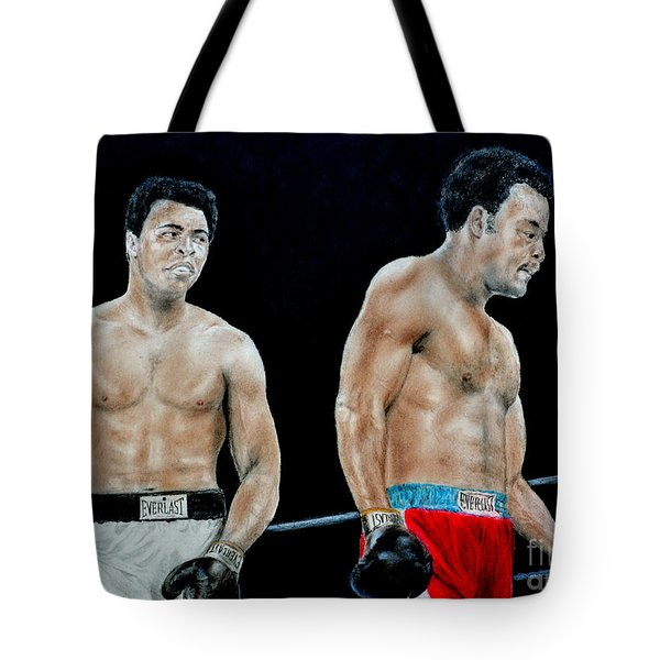 Muhammad Ali Vs George Foreman Tote Bag by Jim Fitzpatrick