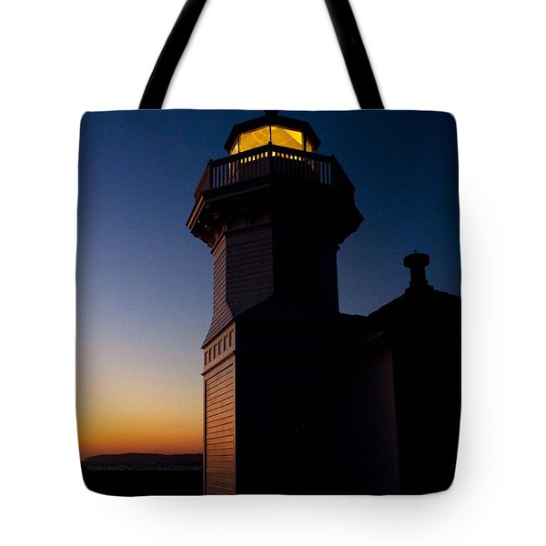 Tote Bag featuring the photograph Mukilteo Light House Sunset by Sonya Lang