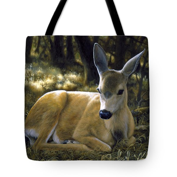 Mule Deer Fawn - A Quiet Place Tote Bag