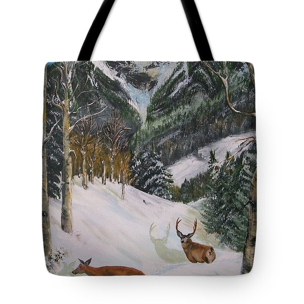 Mule Deer In Winter Tote Bag