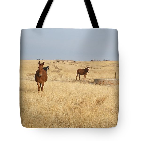 Mules In Gold Grass Tote Bag