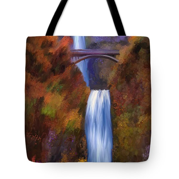 Multnomah Falls In Autumn Tote Bag by Angela A Stanton