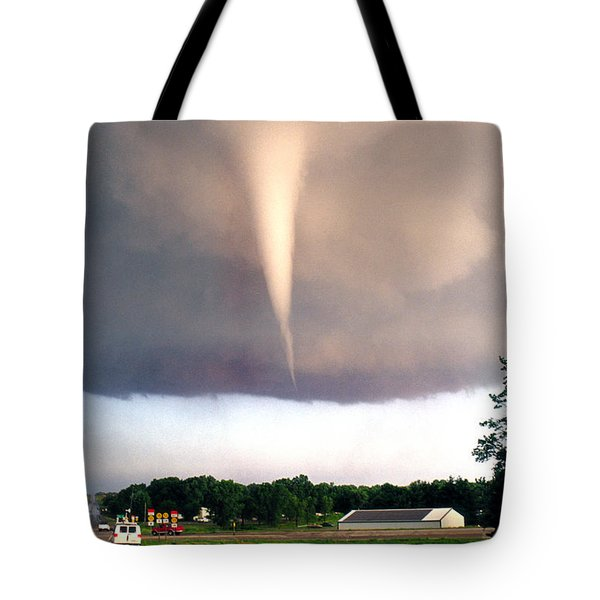 Mulvane Tornado With Storm Chasers Tote Bag by Jason Politte