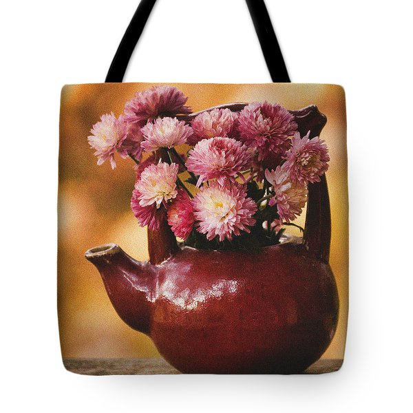 Tote Bag featuring the photograph Mums In A Teapot Still Life by Peggy Collins