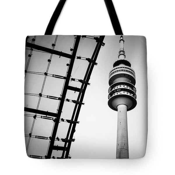 Munich - Olympiaturm And The Roof - Bw Tote Bag