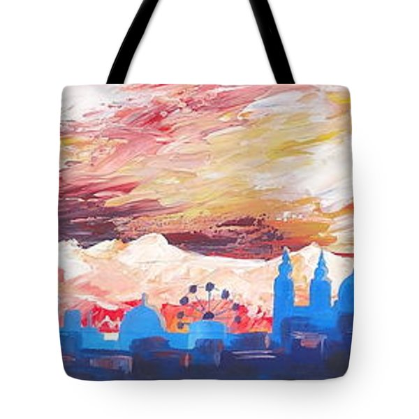 Munich Skyline At Dusk With Alps Tote Bag by M Bleichner