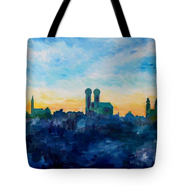 Munich Skyline With Church Of Our Lady Tote Bag by M Bleichner