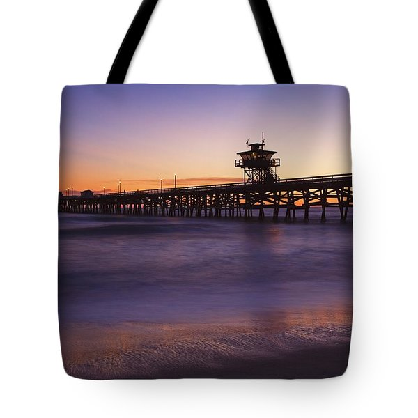 Municipal Pier At Sunset San Clemente Tote Bag by Richard Cummins