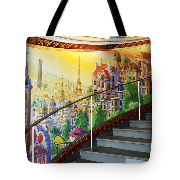 Mural In The Paris Metro Tote Bag by Kathy Yates