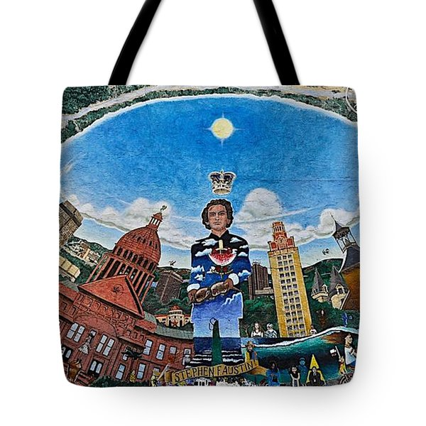 Mural Of Stephen F Austin Off Guadalupe Tote Bag