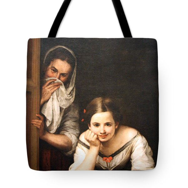 Murillo's Two Women At A Window Tote Bag by Cora Wandel
