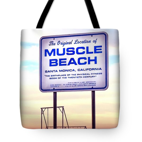 Tote Bag featuring the photograph Muscle Beach by Art Block Collections