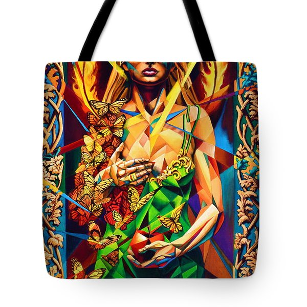 Tote Bag featuring the painting Muse  Autumn by Greg Skrtic