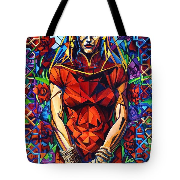 Tote Bag featuring the painting Muse  Winter/mourning by Greg Skrtic