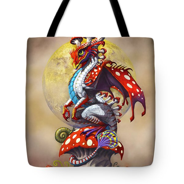 Tote Bag featuring the digital art Mushroom Dragon by Stanley Morrison