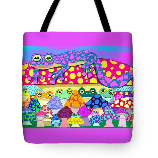 Mushroom Meadow Frogs Tote Bag