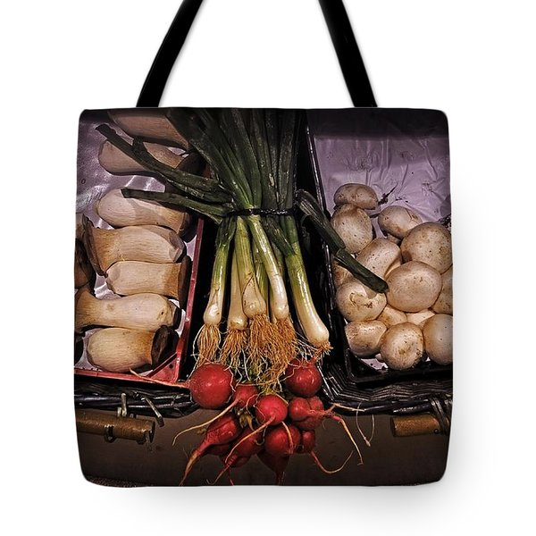 Mushrooms In The Seville Market  Tote Bag by Mary Machare