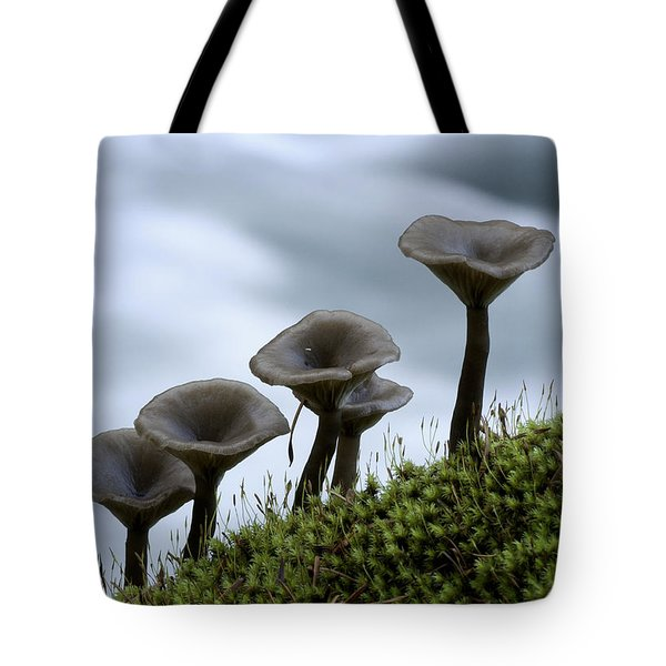 Tote Bag featuring the photograph Mushrooms On Moss by Betty Depee