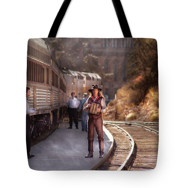 Music - Accordion - The Guy And The Squeeze Box Tote Bag by Mike Savad