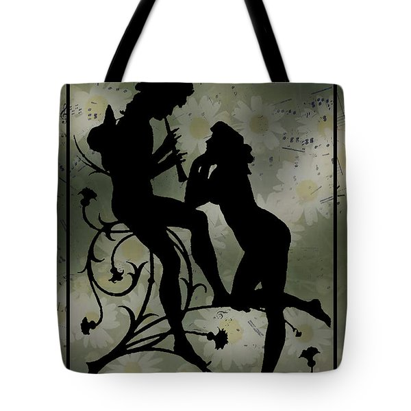 Tote Bag featuring the digital art Music Daisies And Silhouette by Sandra Foster