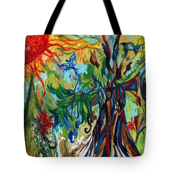 Music In Bird Of Tree Tote Bag by Genevieve Esson