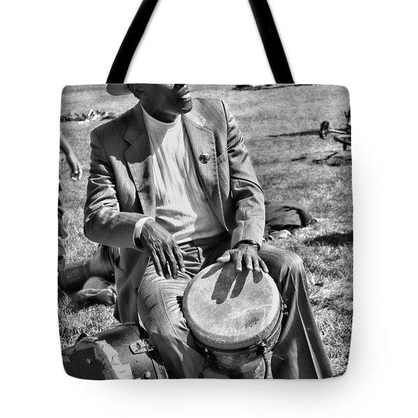Music Man On Hippie Hill By Diana Sainz Tote Bag by Diana Sainz