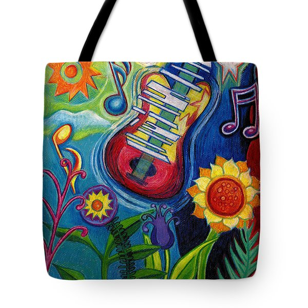 Music On Flowers Tote Bag by Genevieve Esson