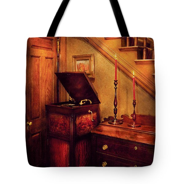 Music - Record - The Victrola Tote Bag by Mike Savad