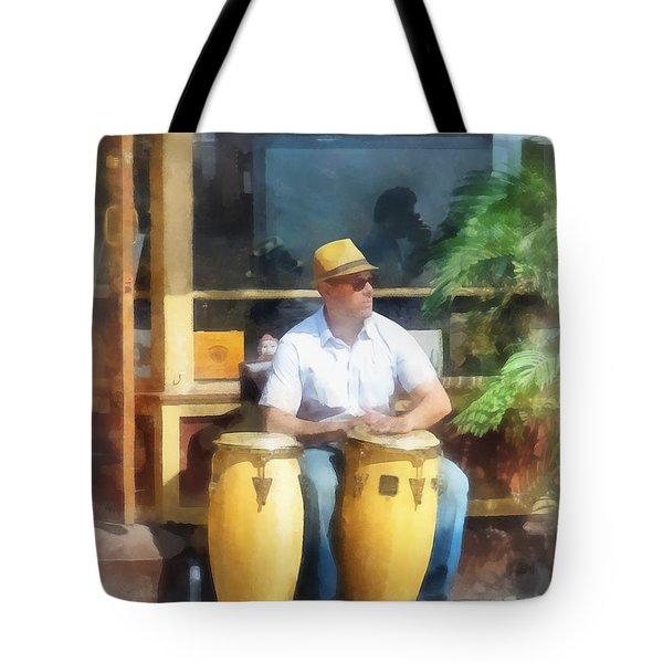 Musicians - Playing Bongo Drums Tote Bag by Susan Savad