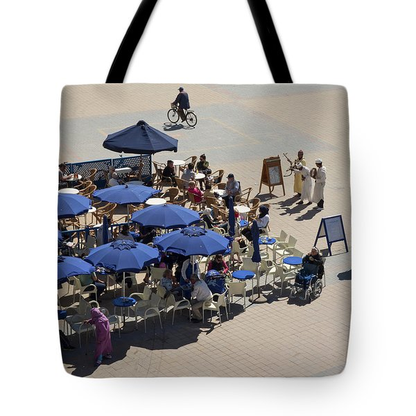 Musicians Playing For Tips In Front Tote Bag