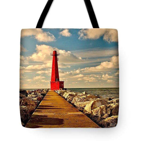 Muskegon South Pier Light Tote Bag