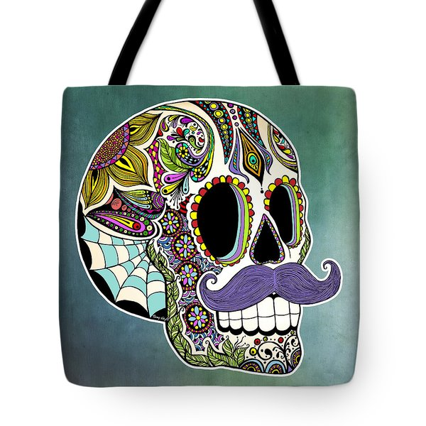 Mustache Sugar Skull Tote Bag by Tammy Wetzel