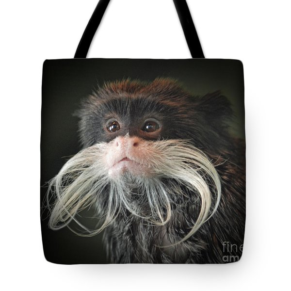 Mustached Monkey Emperor Tamarin IIi  Tote Bag by Jim Fitzpatrick